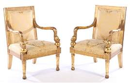 PAIR CONTINENTAL GILTWOOD CARVED ARM CHAIRS