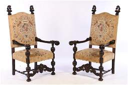 PAIR OF CONTINENTAL OPEN ARM LIBRARY CHAIRS