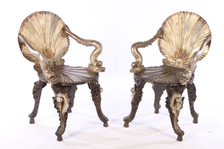 RARE PAIR ITALIAN SILVERED WOOD GROTTO CHAIRS