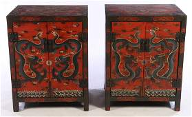 PR CHINESE LACQUERED CABINETS DRAGON MOTIF
