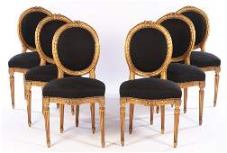 SET 6 CARVED GILTWOOD SIDE CHAIRS LOUIS XVI 1920
