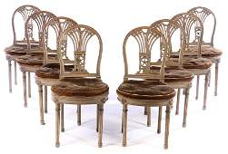 SET 8 FRENCH CARVED JANSEN DINING CHAIRS 1920