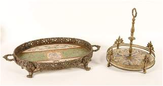 GROUP OF TWO PORCELAIN AND BRASS TRAY AND PLATEAU