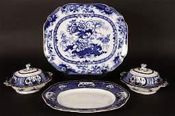 A 4 PIECE PORCELAIN LOT WITH DISHES AND PLATTER