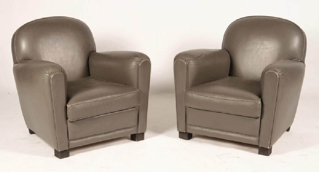 PAIR FRENCH ART DECO LEATHER CLUB CHAIRS 1960