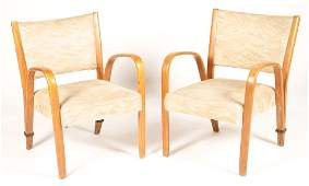 PAIR FRENCH BENT WOOD ARM CHAIRS STEINER 1950