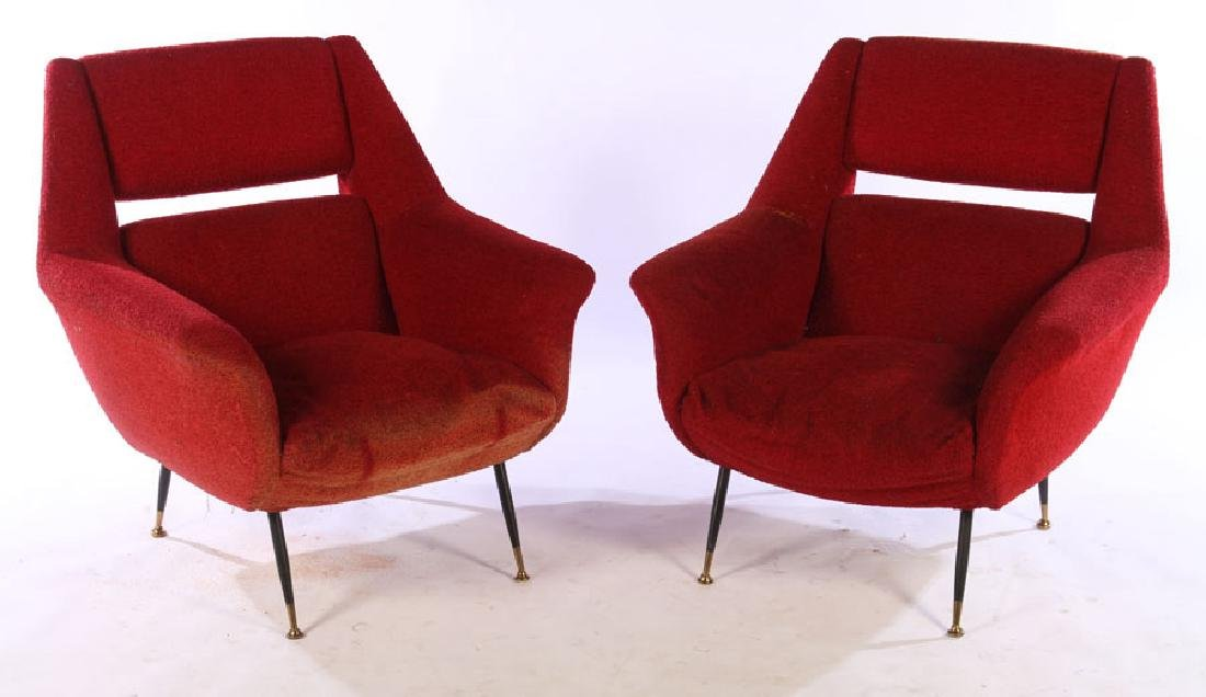 PAIR ITALIAN MODERN UPHOLSTERED CLUB CHAIRS