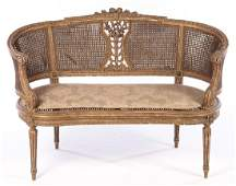 PAINTED CARVED LOUIS XVI CARVED SETTEE 1920