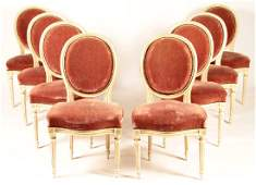 SET 8 FRENCH LOUIS XVI CARVED DINING CHAIRS 1940