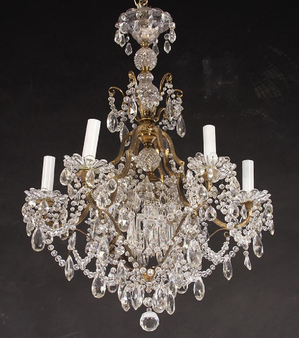 FRENCH BRONZE DROP CRYSTAL CHANDELER 6 ARMS