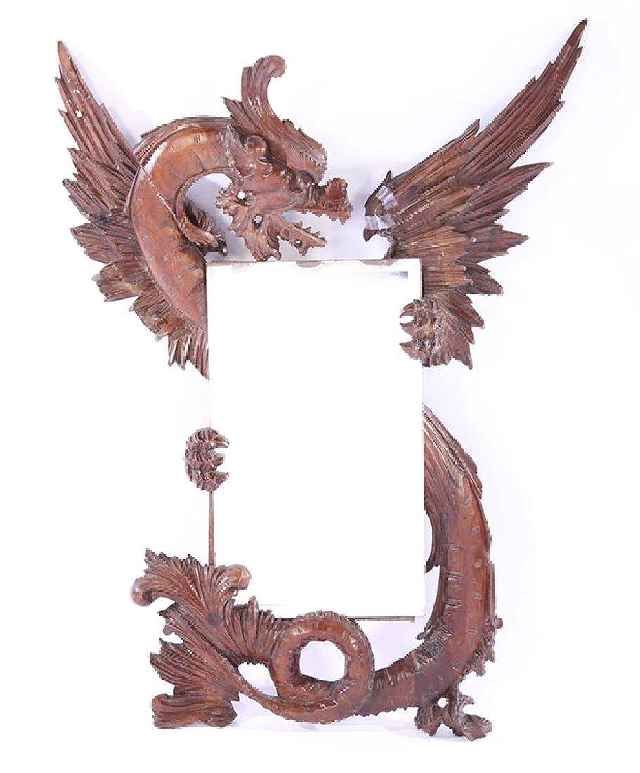 19TH CENT. CARVED WALNUT FANTASY MIRROR DRAGON