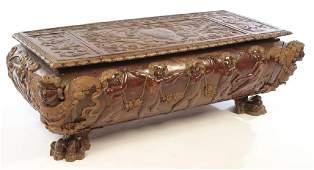 19TH CENT ITALIAN CARVED WALNUT CASSONE