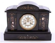 VICTORIAN BLACK SLATE AND MARBLE MANTLE CLOCK