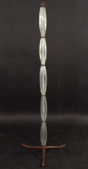 ITALIAN DIAMOND GLASS BRONZE FLOOR LAMP 1960