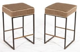 PAIR WROUGHT IRON STOOLS UPHOLSTERED 1950