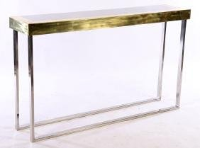 ITALIAN BRASS AND STEEL CONSOLE TABLE