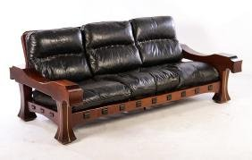 ITALIAN SOLID MAHOGANY SOFA LEATHER CUSHIONS C. 1960