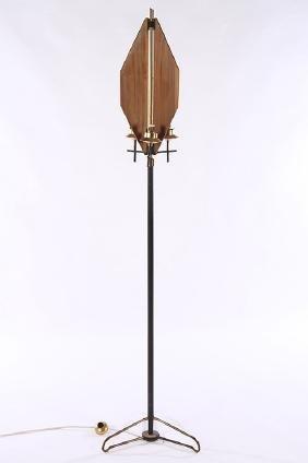 ITALIAN MODERN BRASS IRON 3 LIGHT FLOOR LAMP 1970