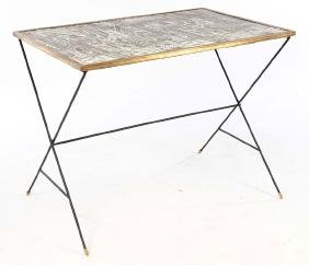 STYLISH TABLE DECOUPAGE BRONZE FRAMED TOP