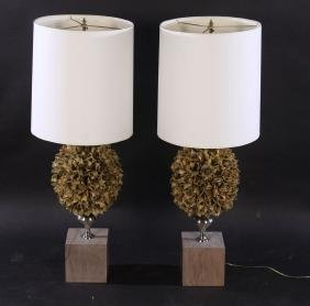 PAIR FAUX FLORAL CLUSTER LAMPS MARBLE BASES