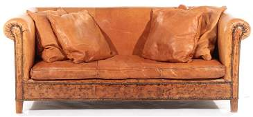 LABELED RALPH LAUREN LEATHER SOFA 4 PILLOWS