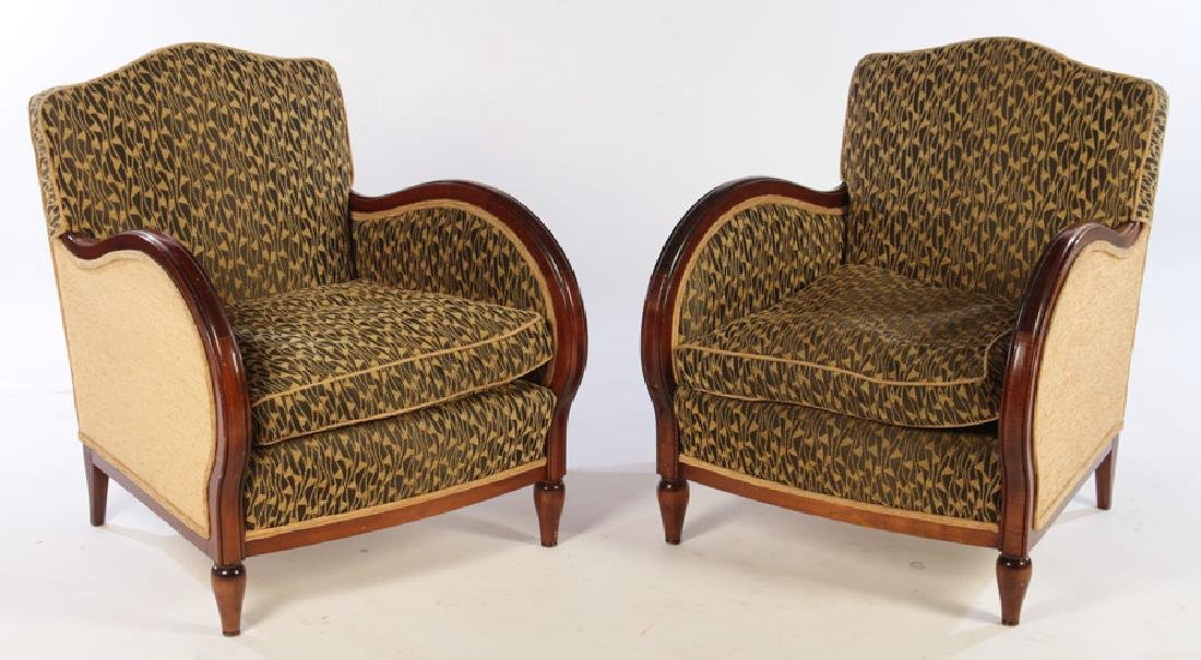 PAIR ART DECO UPHOLSTERED CLUB CHAIRS 1935