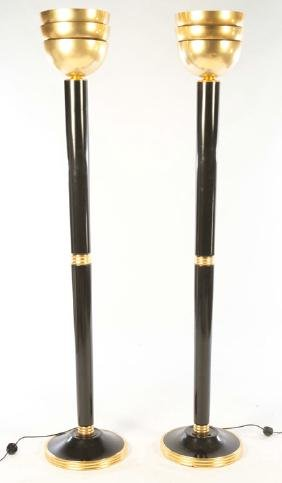 PR ART DECO EBONIZED GILTWOOD FLOOR LAMPS