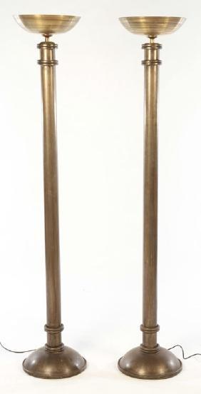PAIR ART DECO STYLE IRON BRASS FLOOR LAMPS