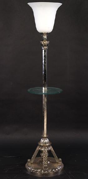 ART DECO FLOOR LAMP FROSTED GLASS SHADE