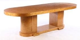 LARGE FRENCH ART DECO MAPLE WRITING DESK C. 1930