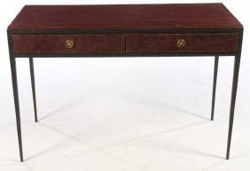 LEATHER CLAD WROUGHT IRON DESK JEAN MICHEL FRANK