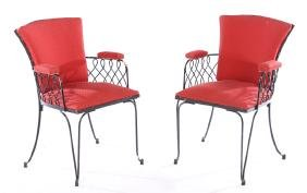 PR FRENCH WROUGHT IRON ARM CHAIRS RENE PROU 1950