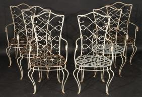 SET 6 FRENCH WROUGHT IRON ARM CHAIRS 1940