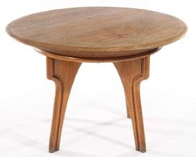 FRENCH OAK TABLE UNUSUAL CARVED TAPERED LEGS 1950