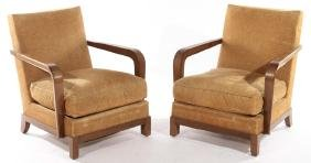 PR FRENCH LOUNGE CHAIRS LOOSE CUSHION SEATS 1940