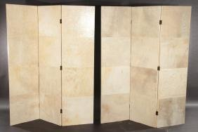 PAIR 3 PANEL PARCHMENT COVERED FOLDING SCREENS