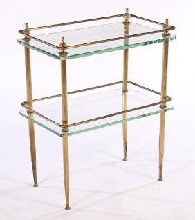 BRONZE EMPIRE STYLE SIDE TABLE GLASS TOP C.1940