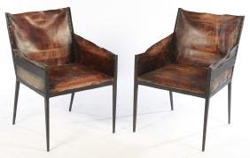 PAIR IRON LEATHER CHAIRS JEAN MICHEL FRANK