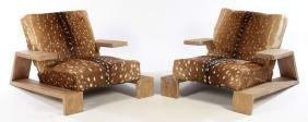 Pair Cerused Oak Lounge Chairs Jean Michel Frank