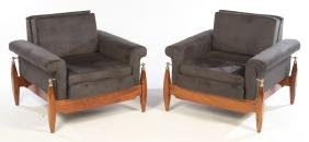 MID CENTURY MODERN UPHOLSTERED CLUB CHARS 1960