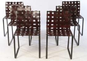SET 6 WOVEN LEATHER WROUGHT IRON DINING CHAIRS
