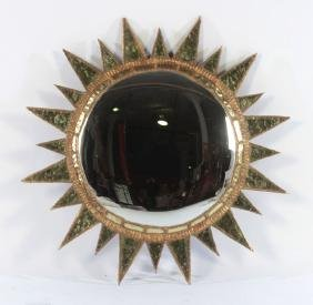 GILT RESIN WOOD SUNBURST MIRROR LINE VAUTRIN