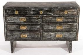 CERUSED OAK CAMPAIGN STYLE CHEST BRASS PULLS 1960