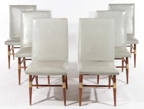 SET 6 MODERN DINING CHAIRS UPHOLSTERED 1960