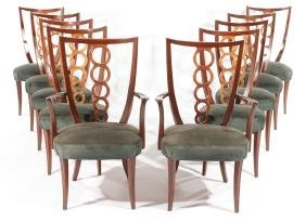 SET 10 DINING CHAIRS TOMMI PARZINGER 1950