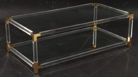 FRENCH MID CENTURY MODERN BRASS COFFEE TABLE 1970