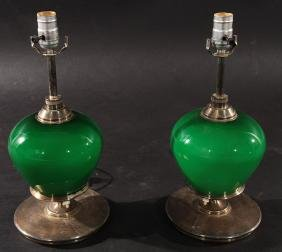 PAIR OF GREEN GLASS AND CHROME TABLE LAMPS