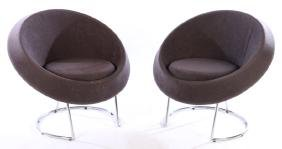 PAIR MODERN UPHOLSTERED SAUCER CHAIRS 1980