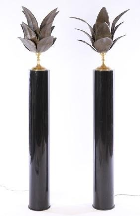 PAIR BRASS BRONZE BLACK PLASTIC FLOOR LAMPS 1960