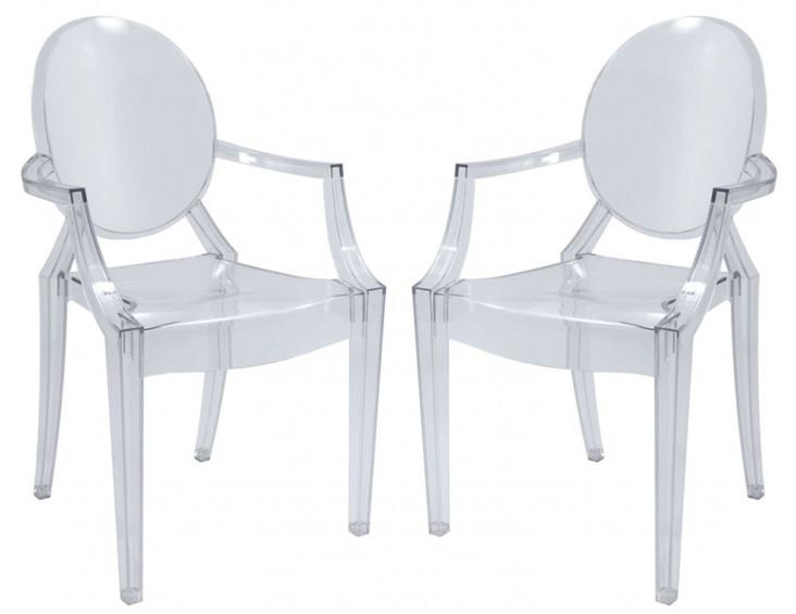 PAIR ACRYLIC LOUIS GHOST CHAIRS, STYLE OF PHILIPPE